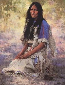 """""""Mulher Sioux"""", de Howard Terpning"""