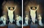 A pintura original de Bloch e sua versão com photoshop na revista da Igreja