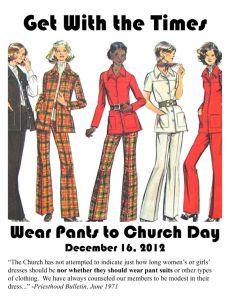 Será que a Igreja reembolsaria calças para as mulheres, ou apenas saias?