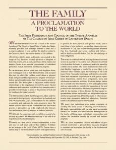 'A Família: Uma Proclamação Ao Mundo' da Primeira Presidência e do Conselho dos Doze Apóstolos (1995)