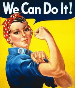 'Nós Conseguimos', poster de propaganda de guerra (1943) por J. Howard Miller para incentivar a força de trabalho feminina da Cia. Elétrica Westinghouse.