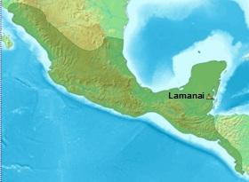 Localização de Lamanai na América Central