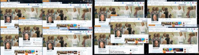 """Apóstolos Mórmons no Twitter. Nada diz """"conta pessoal"""" como manter o mesmo layout idêntico para todos os catorze homens!"""
