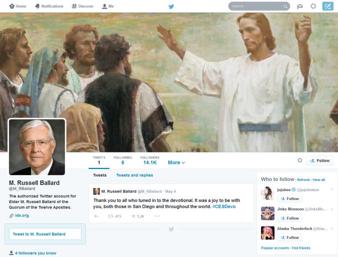 Russell Ballard Estréia Twitter Para Apóstolos Mórmons.