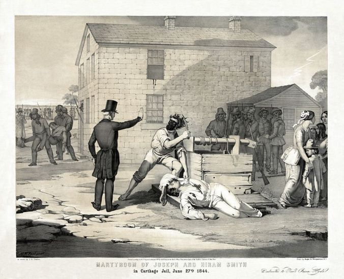 "Martyrdom of Joseph and Hiram Smith in Carthage jail, June 27th, 1844, litografia de  G.W. Fasel e C.G. Crehen . Inscrição ""Dedicado ao Reverendo Orson Hyde"""
