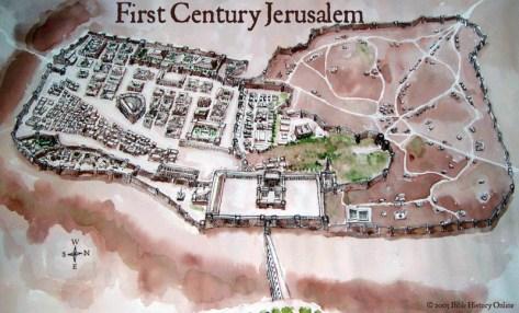 Jerusalém no Primeiro Século da Era Comum, demonstrando a centralidade do complexo templário, bem como a enorme dimensão dos Pátios dos Gentios em relação à cidade e ao Templo propriamente dito.