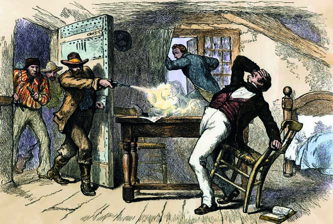 Murder of Joseph and Hyrum Smith by a mob in jail in Carthage, Illinois, 1844., sem indicação de data ou artista (Fonte: northwindpictures.com)