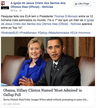Barack Obama e Hillary Clinton se surpreendem com a popularidade do Profeta Mórmon!