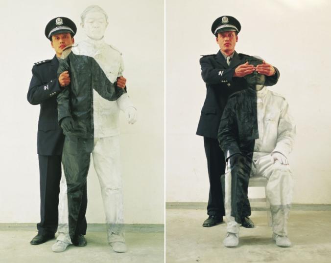 Escondendo-se na cidade No. 16 e No. 17 — Policial do Povo, 2006.  © Liu Bolin