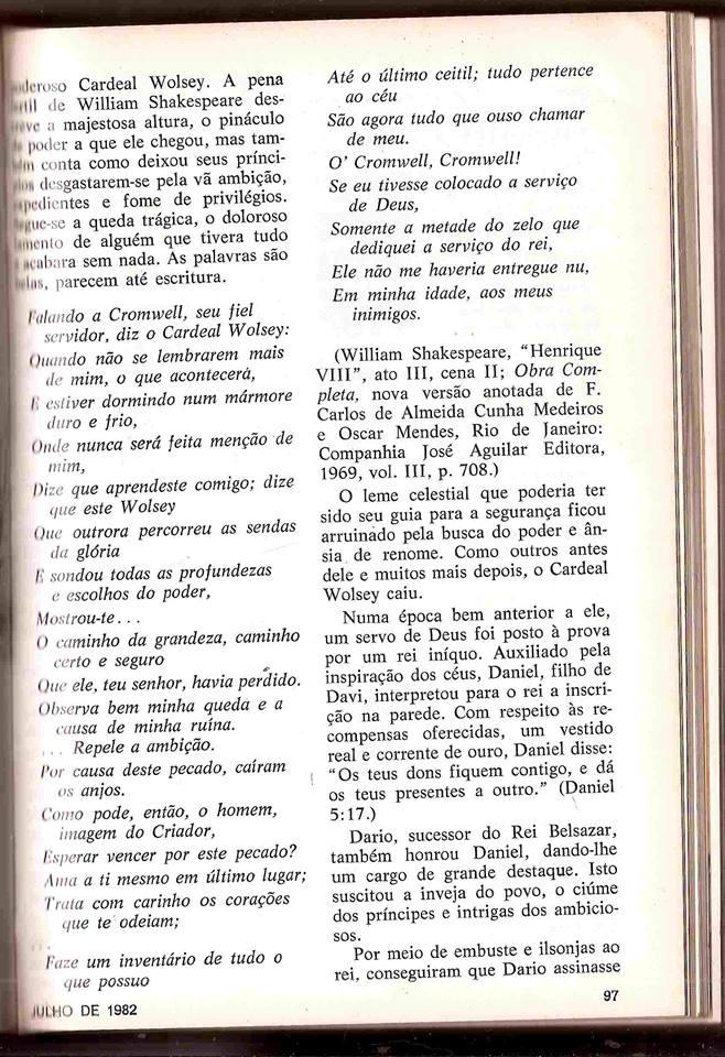 Página da revista Liahona, mostrando o discurso de Thomas S. Monson em abril de 1982, com o trecho sobre Daniel.