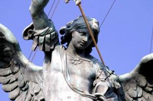 Estátua que representa a visão de Gregório Magno no Mausoléu de Adriano (hoje, Castelo de Santo Ângelo)