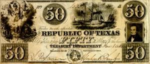 Dinheiro emitido pela República do Texas na década de 1840.