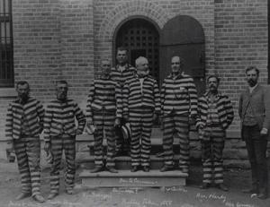 Mórmons presos por coabitação ilegal. Penitenciária estadual de Utah, aprox. 1888.