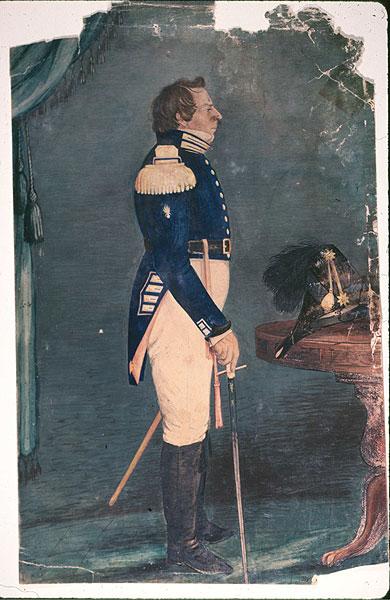 Joseph Smith vestindo o uniforme da Legião de Nauvoo. Pintura de Sutcliffe Maudsley (1809 - 1881)