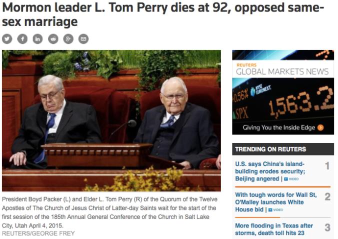 Líder Mórmon L. Tom Perry Morre aos 92 anos, Opunha-se ao Casamento Homossexual