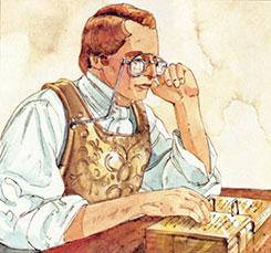 Ilustração de Robert T. Barrett no artigo da Ensign.