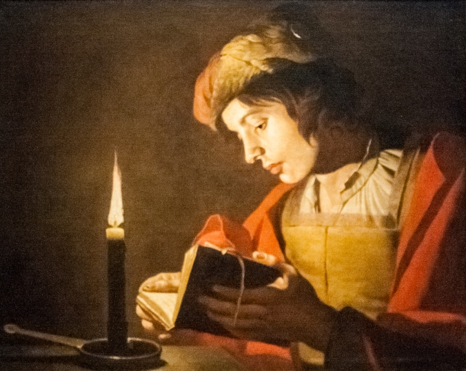 'Jovem lendo à luz de vela', por Matthias Stom (1600-1652)