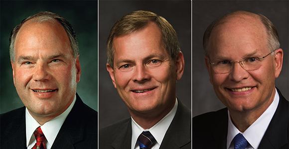 Três Novos Apóstolos: Ronald A. Rasband, Gary E. Stevenson, Dale G. Renlund (esq. para dir.)
