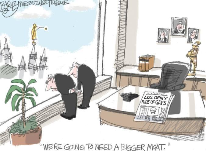Pat Bagley. Cartunista mórmon. Humor. Crítica. Mormonismo. Mórmons.