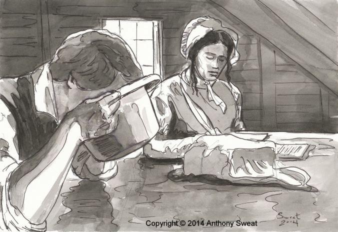 Joseph ditando a Emma Smith a tradução do Livro de Mórmon. Arte de Anthony R. Sweat.