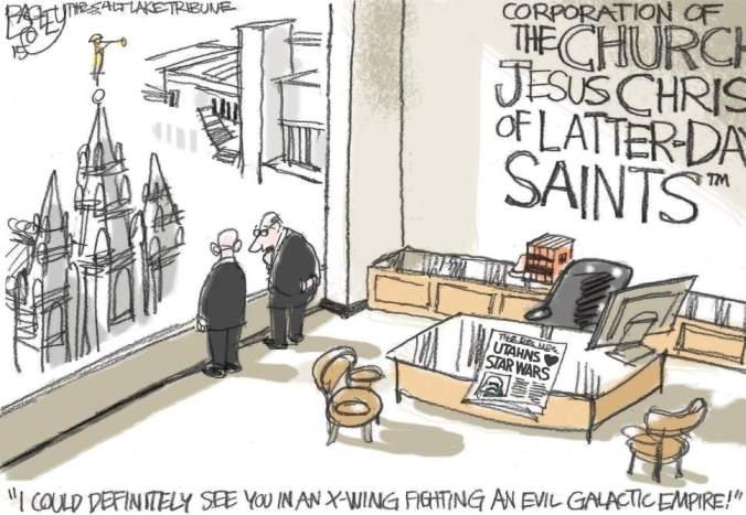 Pat Bagley. Cartunista mórmon. Humor. Mormonismo.