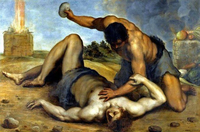 'Caim e Abel' por Jacopo Palma il Giovane, ca. 1590