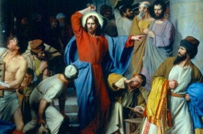 Jesus limpa o templo, por Carl Heinrich Bloch. Jesus explicitamente proibiu Seus discípulos de acumular bens materiais e dinheiro