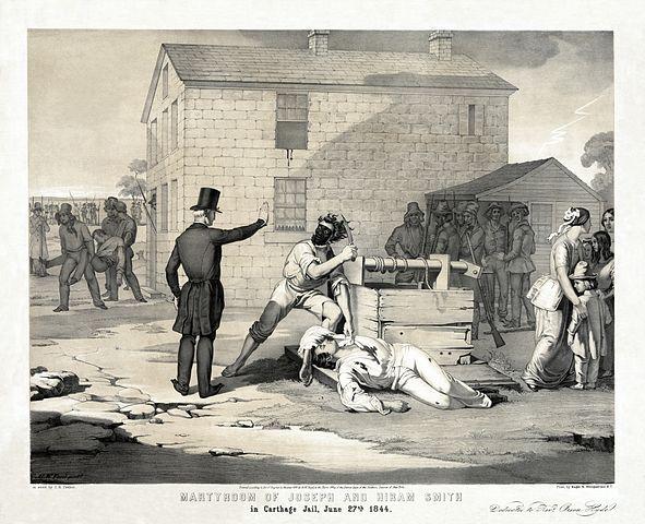 """""""O Martírio de Joseph e Hiram [sic] Smith na Cadeia de Carthage, 27 de junho de 1844"""" por G.W. Fasel [pintura] e C.G. Crehen [litografia] para Nagel & Weingaertner, N.Y. Dedicado ao """"Reverendo"""" [sic] Orson Hyde"""