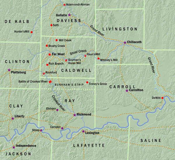 Mapa do Oeste de Missouri, pelo historiador John Hamer