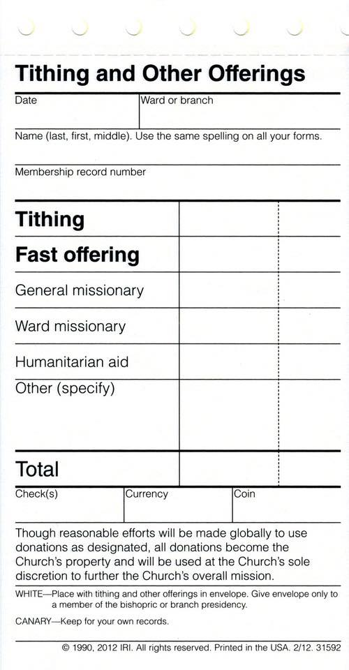 Tithing Slip 1