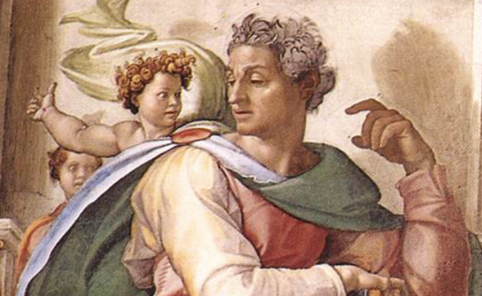 Detalhe de O Profeta Isaías, por Michelangelo (Mural na Capela Cistina)