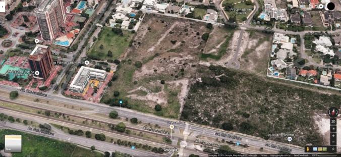 Foto aérea do terreno do Templo do Rio de Janeiro da Igreja SUD (Foto: Google Street View, Abril 2016)