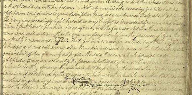 Trecho do manuscrito original da história da Igreja, ditada pelo Profeta Joseph Smith, anotado pelo Setenta James Mulholland (ca. 1839)