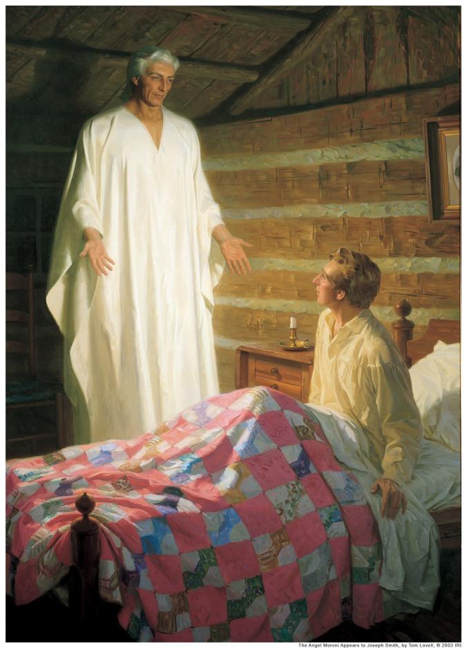 """""""Morôni Aparece a Joseph em Seu Quarto"""" ou """"O Anjo Morôni Aparece a Joseph Smith"""", por Tom Lovell sob encomenda para, e publicado pela, A Igreja de Jesus Cristo dos Santos dos Últimos Dias. Reproduzido sob permissão"""