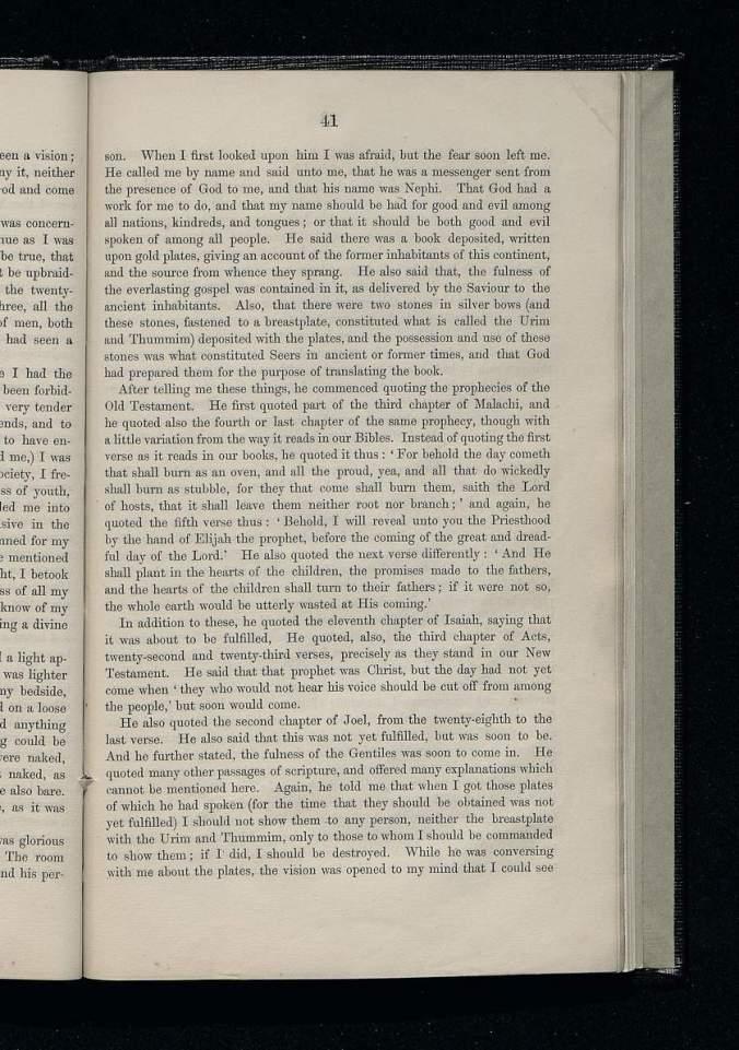 Página 41 da primeira edição da Pérola de Grande Valor, A Igreja de Jesus Cristo dos Santos dos Últimos Dias, 1851