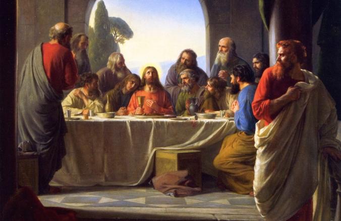 A Última Ceia por Carl Heinrich Bloch (1834 – 1890), focando na conspícua saída de Judas da ceia